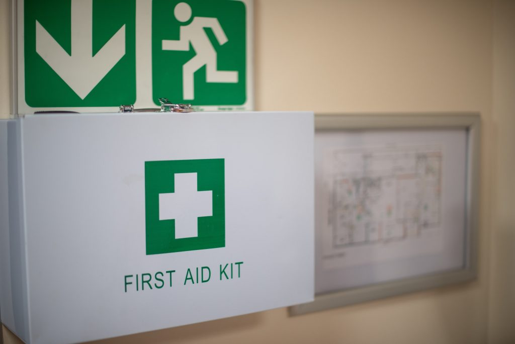 First aid kit in work space